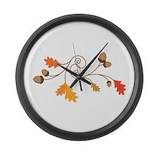 Leaves & Acorn Swirl Large Wall Clock