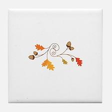 Leaves & Acorn Swirl Tile Coaster
