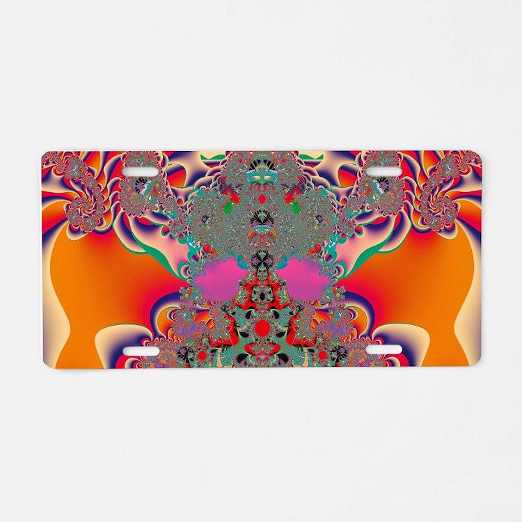 Red Meditation Aluminum License Plate