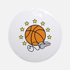 Basketball & Whistle Ornament (Round)