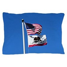 American Flag and Flag of California Pillow Case