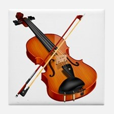 Beautiful Violin and Bow Musical Inst Tile Coaster
