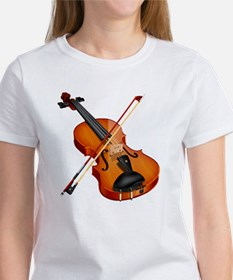 Beautiful Violin and Bow Musical I Women's T-Shirt