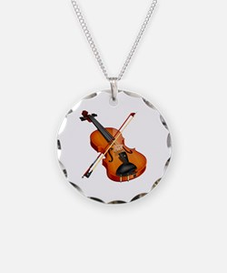 Beautiful Violin and Bow Mus Necklace Circle Charm