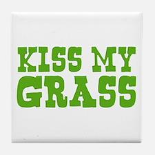 Kiss My Grass Gardening Tile Coaster