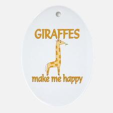Giraffe Happy Ornament (Oval)