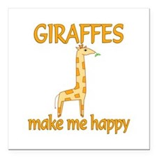 "Giraffe Happy Square Car Magnet 3"" x 3"""