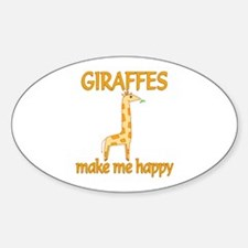 Giraffe Happy Sticker (Oval)