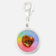 Rainbow Fire Agate Silver Round Charm