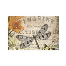 modern vintage French dragonfly Magnets