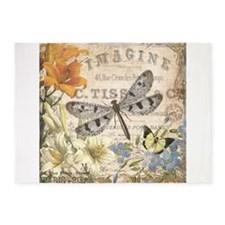 modern vintage French dragonfly 5'x7'Area Rug
