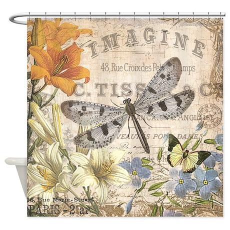 Superb Modern Vintage French Dragonfly Shower Curtain
