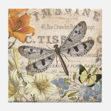 modern vintage French dragonfly Tile Coaster