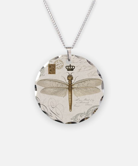 modern vintage French dragonfly Necklace