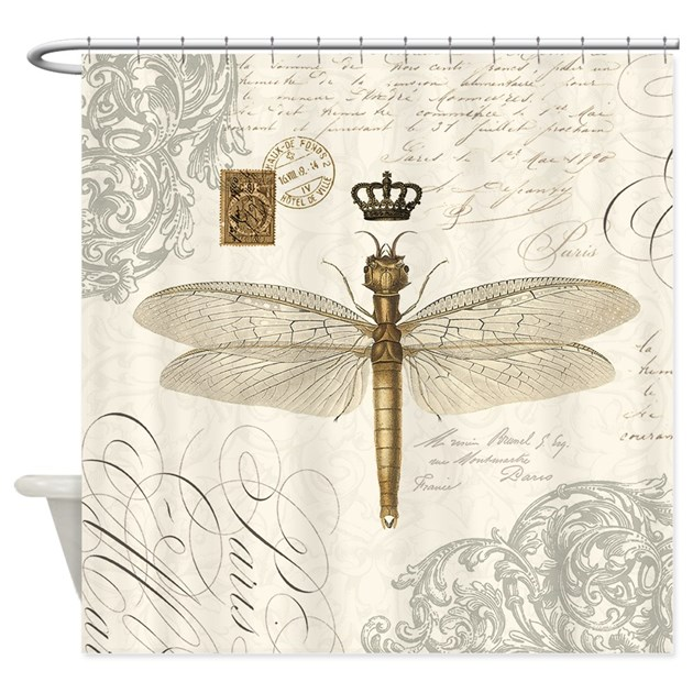 Modern Vintage French Dragonfly Shower Curtain By