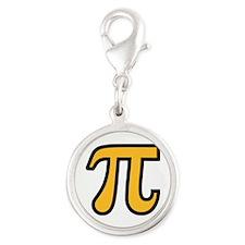 Yellow Pi symbol Silver Round Charm