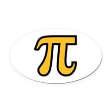 Yellow Pi symbol Oval Car Magnet