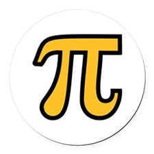 Yellow Pi symbol Round Car Magnet