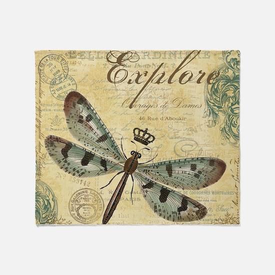 modern vintage French dragonfly Throw Blanket