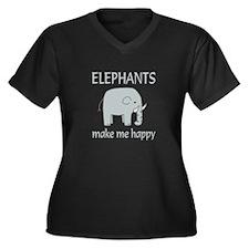 Elephant Hap Women's Plus Size V-Neck Dark T-Shirt