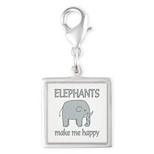 Elephant Happy Silver Square Charm