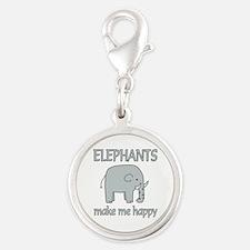 Elephant Happy Silver Round Charm