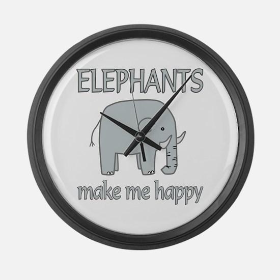 Elephant Happy Large Wall Clock