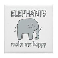 Elephant Happy Tile Coaster
