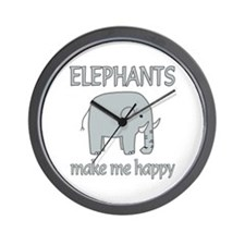 Elephant Happy Wall Clock