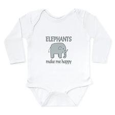 Elephant Happy Long Sleeve Infant Bodysuit