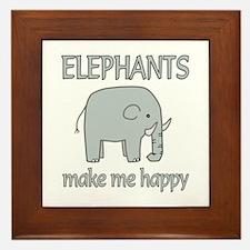 Elephant Happy Framed Tile