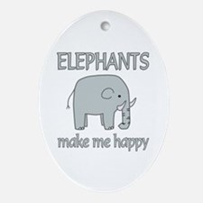 Elephant Happy Ornament (Oval)