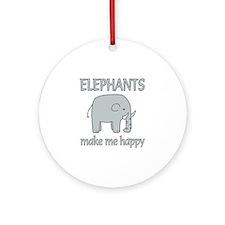 Elephant Happy Ornament (Round)
