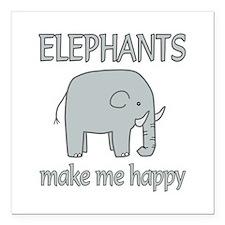 "Elephant Happy Square Car Magnet 3"" x 3"""