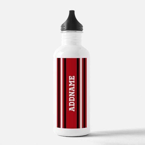 Custom Red White Black Water Bottle