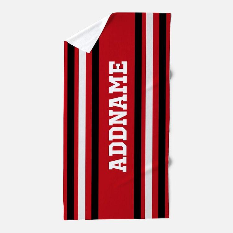 Custom Red White Black Stripes Beach Towel