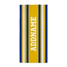 Yellow Blue White Stripes Personalized Beach Towel