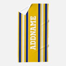 Yellow Blue White Stripes Personalized Beach Towel
