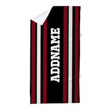 Red White Black Jersey Stripe Beach Towel
