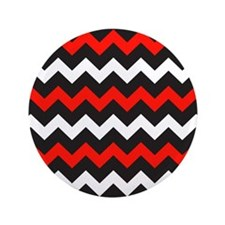 "Black Red And White Chevron 3.5"" Button (100 pack)"