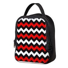 Black Red And White Chevron Neoprene Lunch Bag