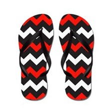 Black Red And White Chevron Flip Flops