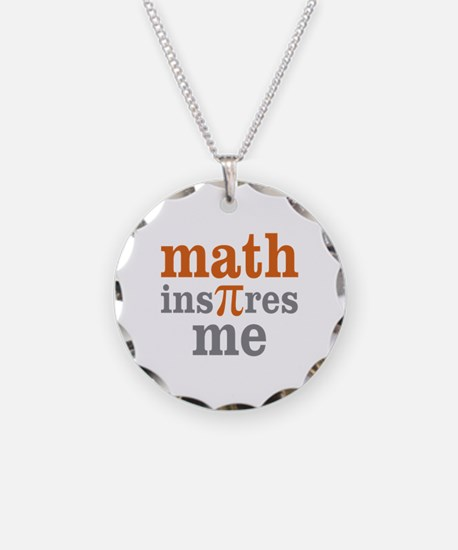 Math Inspires Me Necklace Circle Charm