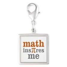 Math Inspires Me Silver Square Charm