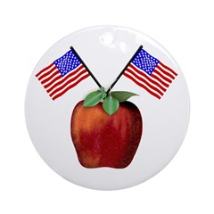 Red July 4th Apple Ornament (Round)