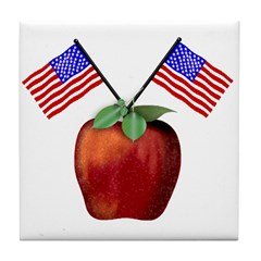 Red July 4th Apple Tile Coaster
