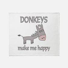 Donkey Happy Throw Blanket