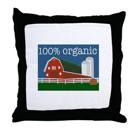 100% Organic Throw Pillow by Windmill6