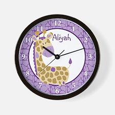 Purple Giraffe Clock - Custom Aliyah Wall Clock