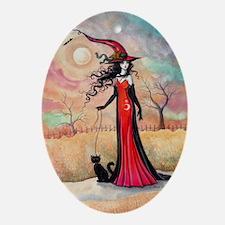 Autumn Stroll Witch Black Cat Fantasy Art Ornament